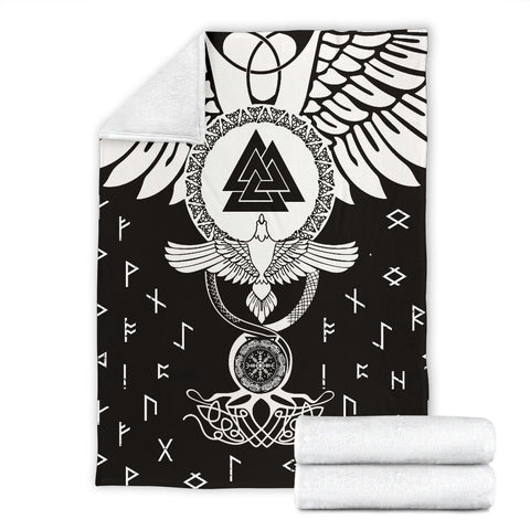 1stIceland Viking Premium Blanket, Flying Raven Tattoo And Valknut - 1st Iceland