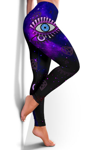 Image of 1stIceland Evil Eye Women Leggings Simple Style - Black K8 - 1st Iceland