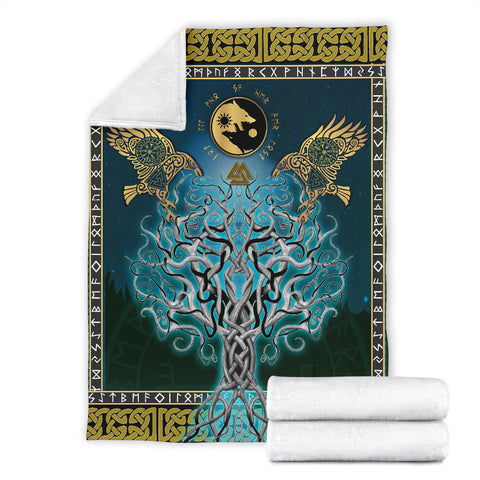 Image of 1stIceland Viking Premium Blanket, Tree Of Life Fenrir Skoll And Hati Raven Rune TH00 - 1st Iceland
