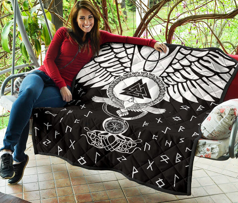 1stIceland Viking Premium Quilt, Flying Raven Tattoo And Valknut - 1st Iceland