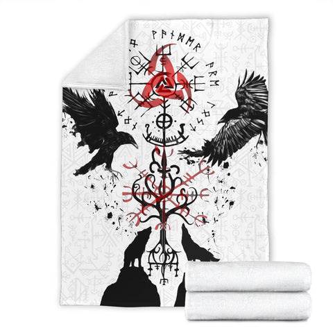 Image of 1stIceland Viking Premium Blanket, Vegvisir Hugin and Munin with Fenrir Yggdrasil K4 - 1st Iceland