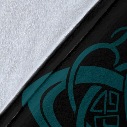 Image of 1stIceland Viking Mjolnir Premium Blanket Celtic Raven Version Turquoise K13 - 1st Iceland