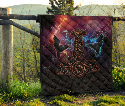 Image of 1stIceland Viking Premium Quilt, Mjolnir Huggin And Muninn - 1st Iceland