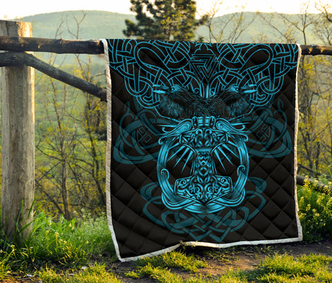 1stIceland Viking Mjolnir Premium Quilt Celtic Raven Version Blue K13 - 1st Iceland