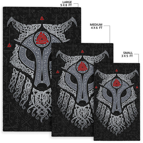 Image of Viking Wolf and Raven Area Rug Valknut Runes K13