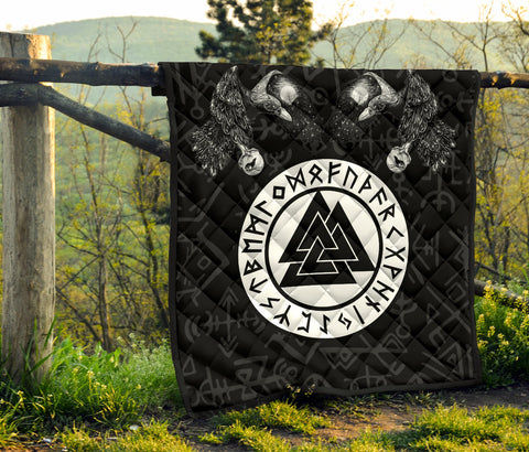Image of 1stIceland Viking Premium Quilt, Fenrir Skoll And Hati Valknut Raven TH00 - 1st Iceland