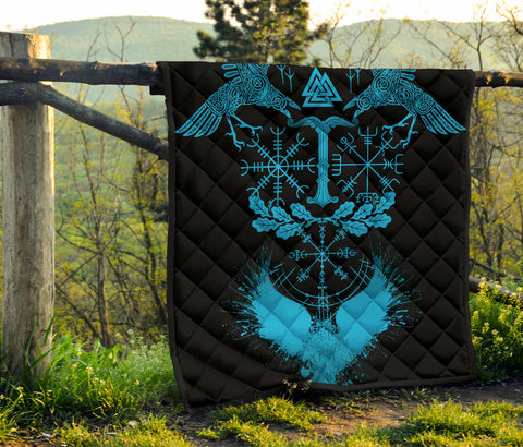 Oak Leaf1stIceland Viking Oak Leaf Premium Quilt Valknut Vegvisir With Irminsul - Blue No.1 K8 - 1st Iceland