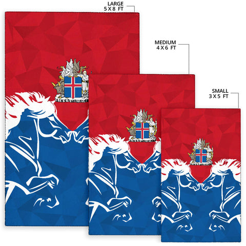 Image of 1stIceland Pullover Area Rug, Horse Coat Of Arms Couple Style K4 - 1st Iceland