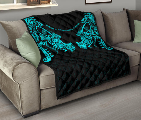 1stIceland Viking Premium Quilt, Fenrir Tattoo The Ragnarok - Blue K4 - 1st Iceland
