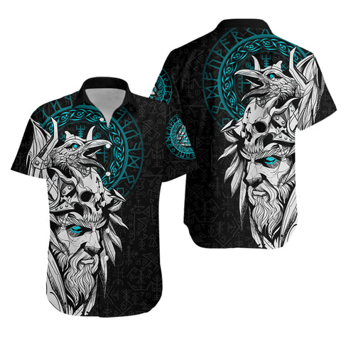 Image of 1stIceland Viking Odin And Raven Turquoise Hawaiian Shirt TH12 - 1st Iceland