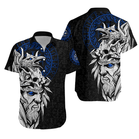 Image of 1stIceland Viking Odin And Raven Blue Hawaiian Shirt TH12 - 1st Iceland