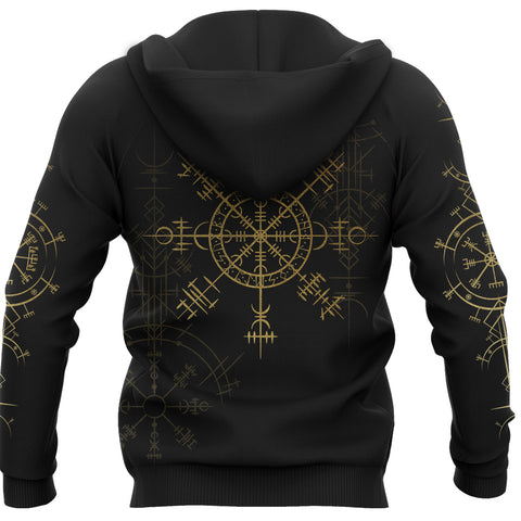1stIceland Magic Ancient Viking Tattoo Zip-Hoodie Gold TH4