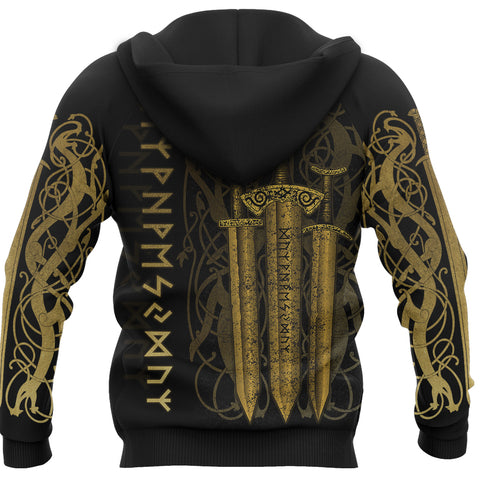 1stIceland Viking Sword Hoodie Gold TH4