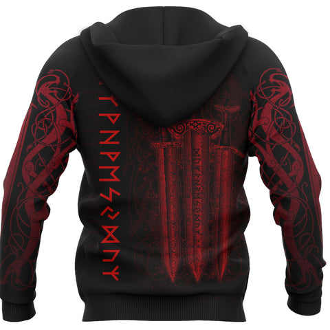 Image of 1stIceland Viking Sword Zip-Hoodie Red TH4 - 1st Iceland
