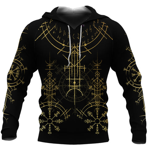1stIceland Magic Ancient Viking Tattoo Hoodie Gold TH4 - 1st Iceland