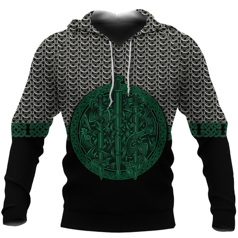 1stIceland Viking Sword Hoodie Mix Celtic Patterns Green