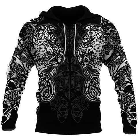 1stIceland Viking Sleipnir Tattoo Zip-Hoodie TH4 - 1st Iceland