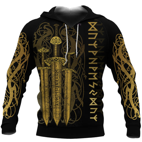 1stIceland Viking Sword Hoodie Gold TH4 - 1st Iceland
