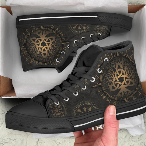 Image of 1stIceland Viking High Top Shoes, Yggrasil Vegvisir Runes Circle K7 - 1st Iceland