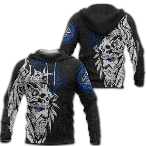 1stIceland Viking Odin And Raven Blue Hoodie TH12 - 1st Iceland