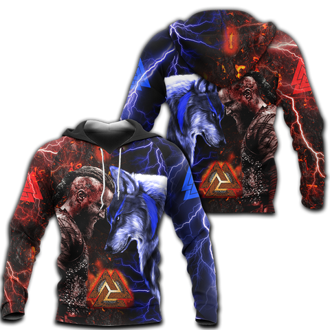 1stIceland Viking 3D Printed Unisex Hoodie Ragnar and Wolf TH12 - 1st Iceland