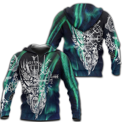 Image of 1stIceland Viking 3D Printed Unisex Hoodie Odin And Northern Lights TH12 - 1st Iceland
