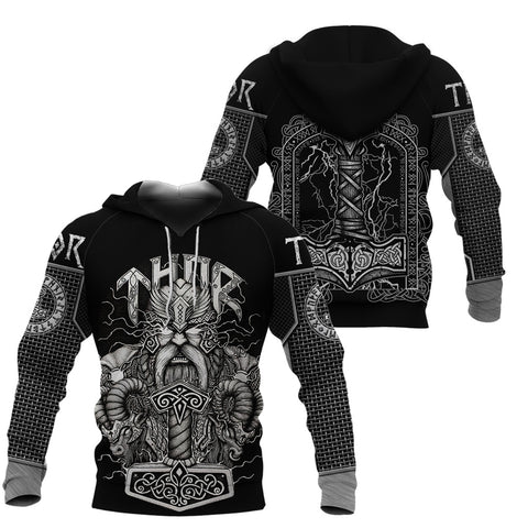 Image of 1stIceland Viking 3D Printed Unisex Hoodie Thor Hammer Beautiful TH12 - 1st Iceland