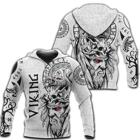 1stIceland Viking Odin And Raven White Hoodie TH12 - 1st Iceland