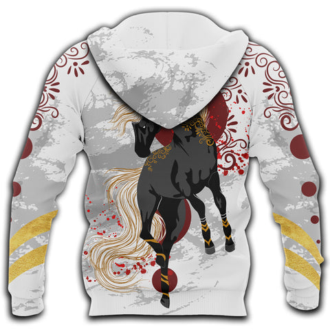 Image of (Customze) 1sticeland Horse Black Zip Hoodie TH12 - 1st Iceland