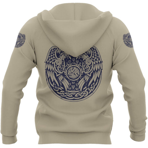 Image of 1stIceland Cerakote Refinishing Art (CRA) Viking Pullover Hoodie, Valknut Raven Of Odin Th00