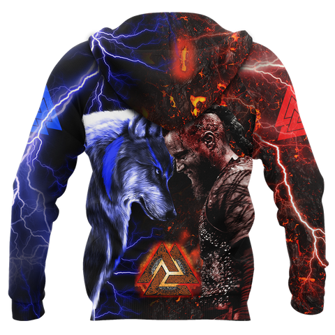 1stIceland Viking 3D Printed Unisex Zip Hoodie Ragnar and Wolf TH12 - 1st Iceland