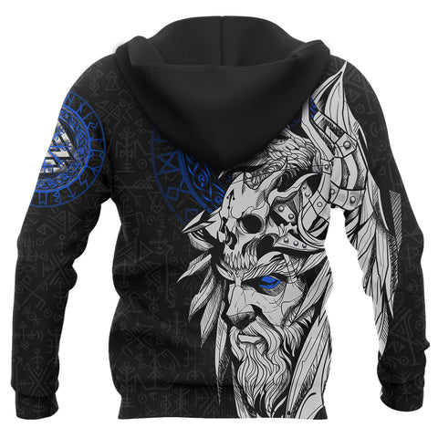 Image of 1stIceland Viking Odin And Raven Blue Zip Hoodie TH12 - 1st Iceland