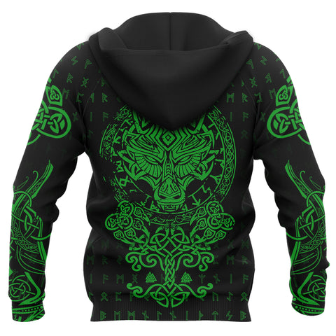 Image of 1stIceland Viking Wolf Fenrir Green Zip Hoodie TH12 - 1st Iceland