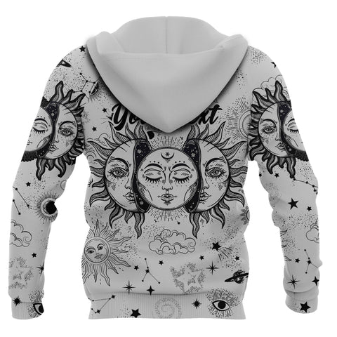 (Custom) 1stIceland Moon And Sun Zip Hoodie Black And White | 1sticeland.com