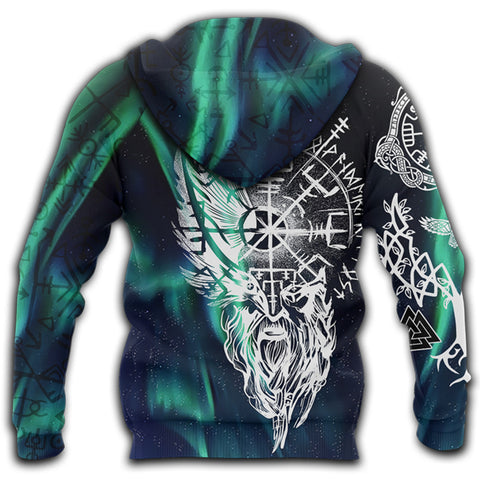 Image of 1stIceland Viking 3D Printed Unisex Zip Hoodie Odin And Northern Lights | 1sticeland.com