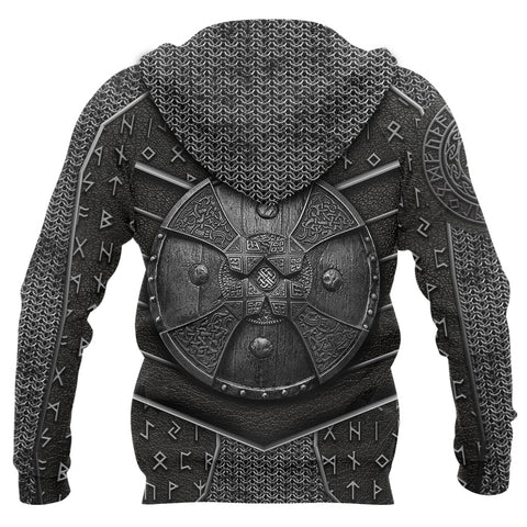 Image of 1stIceland Viking 3D Printed Unisex Zip Hoodie Odin Armor TH12 - 1st Iceland