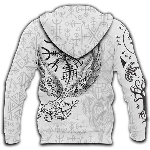Image of 1stIceland Viking 3D Printed Unisex Zip Hoodie Tattoo | 1sticeland.com