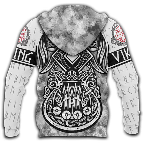 1stIceland Viking 3D Printed Unisex Zip Hoodie Raven And Drakkar | 1sticeland.com