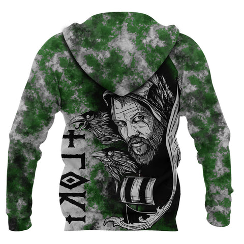 Image of (Custom) 1stIceland Viking Floki 3D Printed Unisex Zip Hoodie Art Style - Green TH12 - 1st Iceland