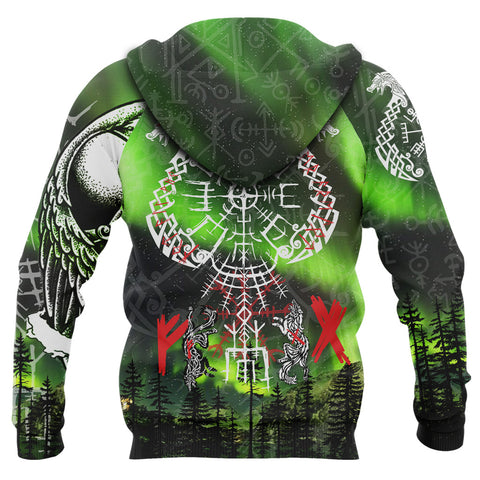 1stIceland Viking 3D Printed Unisex Hoodie Drakkar And Northern Lights TH12 - 1st Iceland