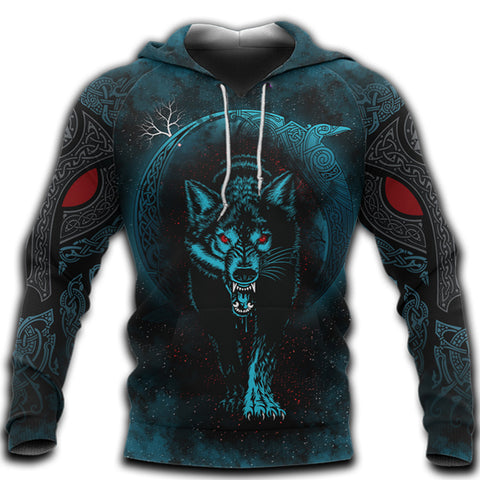 1stIceland Viking 3D Printed Unisex Hoodie Moon Wolf Tattoo | 1sticeland.com