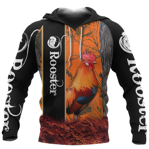 1stIceland Rooster 3D Printed Unisex Hoodie  Orange TH12 - 1st Iceland
