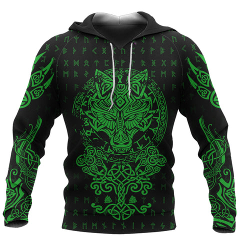 Image of 1stIceland Viking Wolf Fenrir Green Hoodie TH12 - 1st Iceland