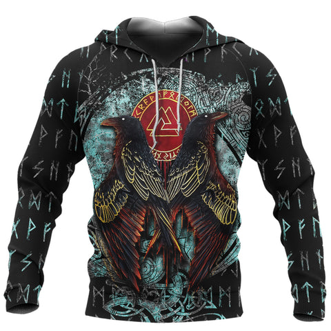 Image of 1stIceland Viking 3D Printed Unisex Hoodie Raven Moon Tattoo TH12 - 1st Iceland