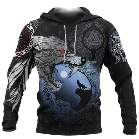 1stIceland Viking Moon Wolf Hoodie TH12 - 1st Iceland