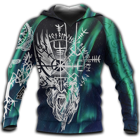 1stIceland Viking 3D Printed Unisex Hoodie Odin And Northern Lights | 1sticeland.com