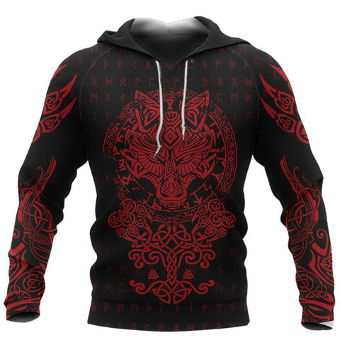 1stIceland Viking Wolf Fenrir Red Hoodie TH12 - 1st Iceland