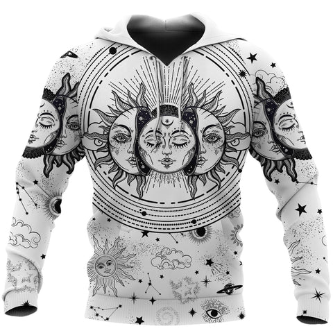 Image of (Custom) 1stIceland Moon And Sun Hoodie Black And White | 1sticeland.com