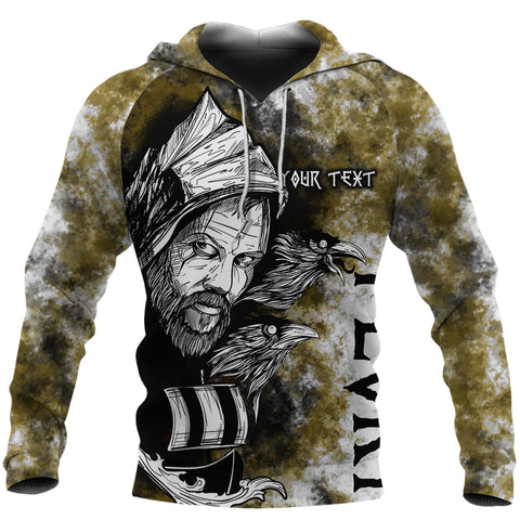 Image of (Custom) 1stIceland Viking Floki 3D Printed Unisex Hoodie Art Style - Yellow TH12 - 1st Iceland