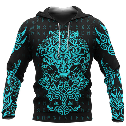 1stIceland Viking Wolf Fenrir Turquoise Hoodie TH12 - 1st Iceland